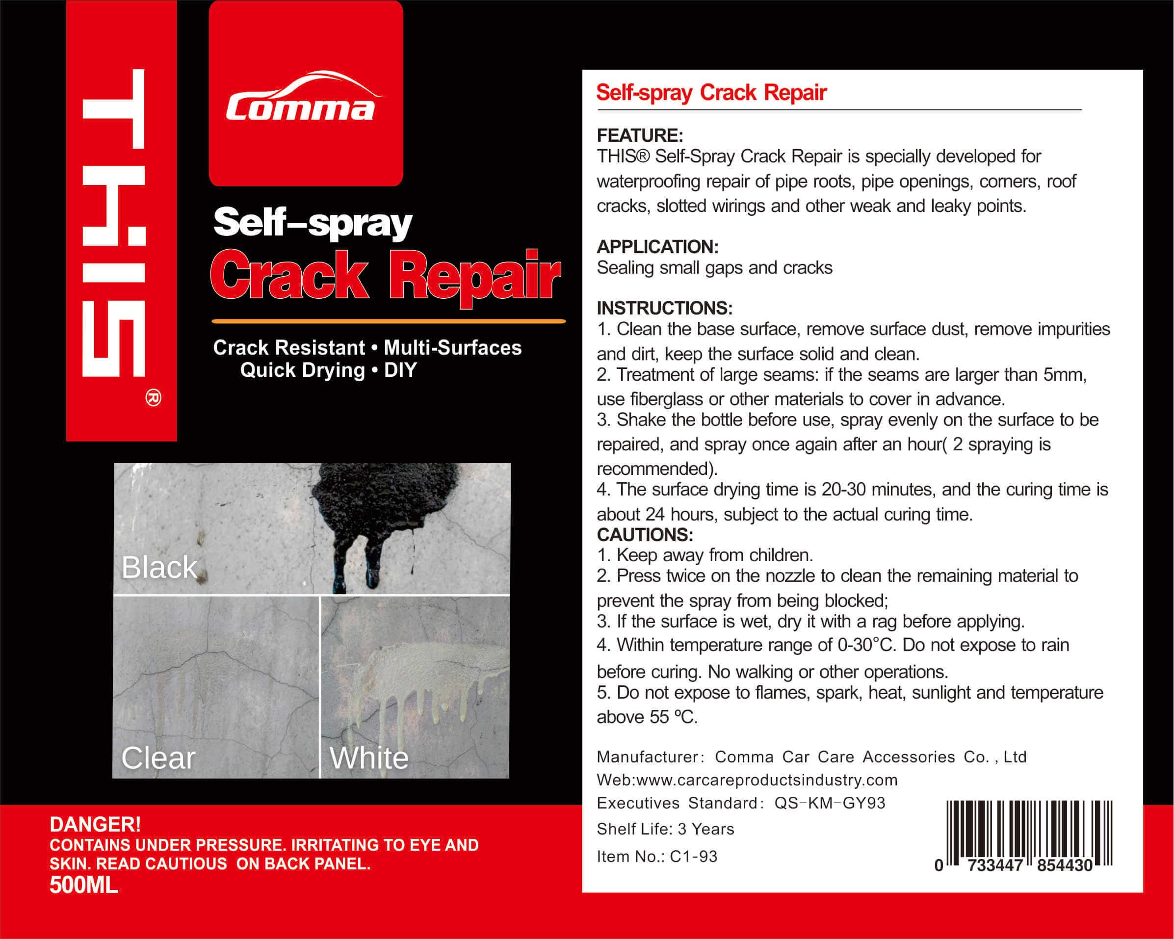 self-spray crack repair